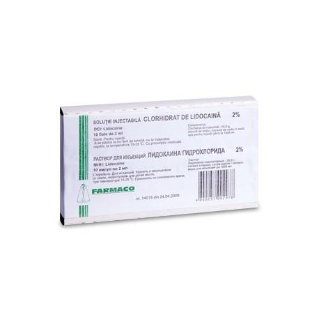 Lidocaina h/ch amp 2% 2ml N10 (Farm
